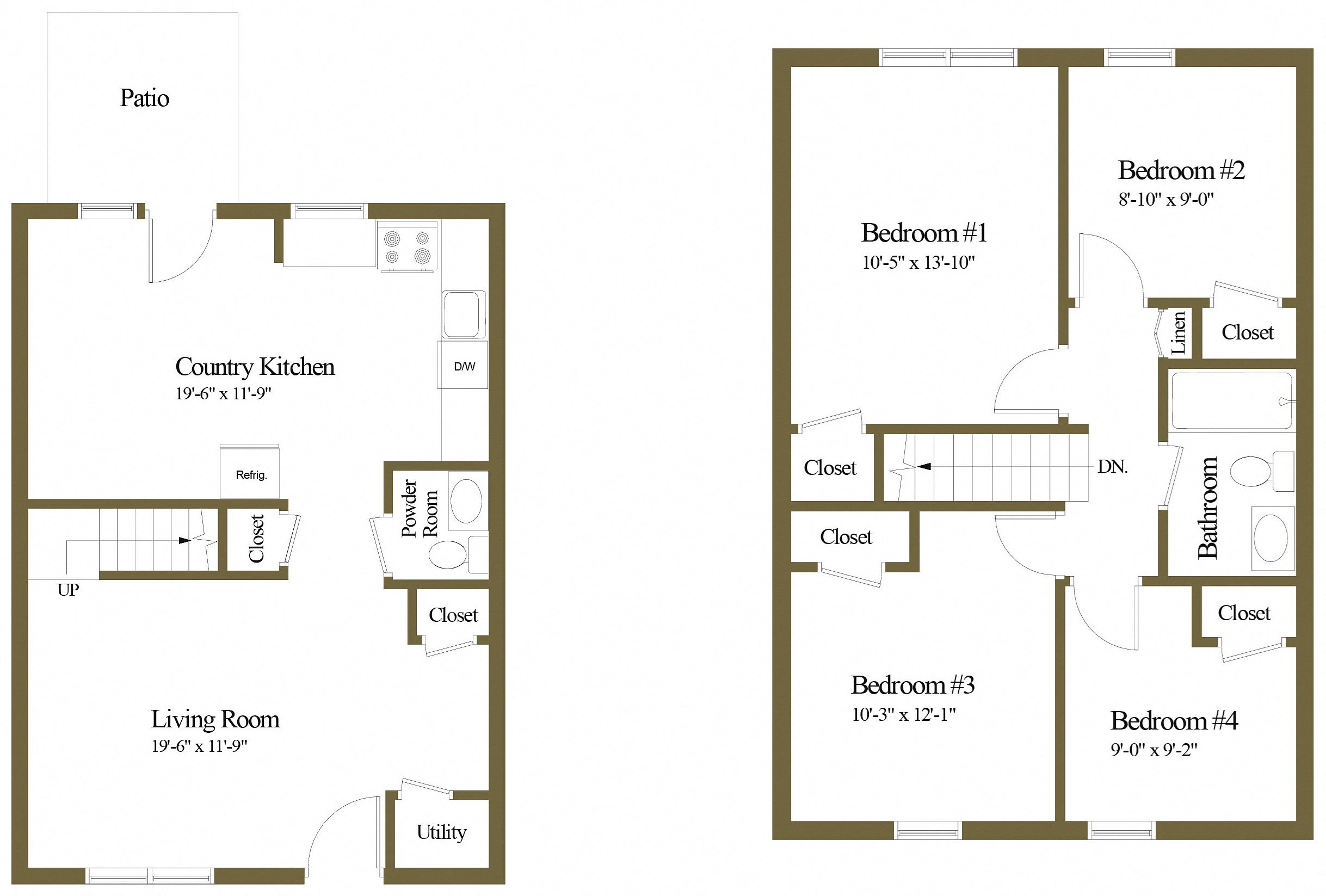 4 Bedroom 1.5 Baths Floor Plan 4