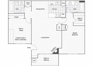 1 Bedroom 2 Bathroom Floor Plan, at Sedona at Lone Mountain Apts, North Las Vegas, NV 89032