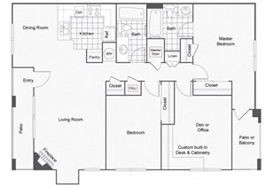 2 bed 2 bath with den floor plan, Sedona at Lone Mountain Apartment Homes, NV, 89032