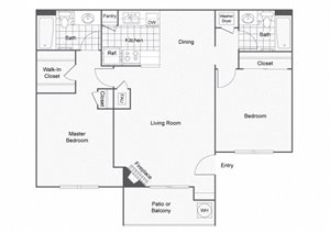 2 Bed 2 Bath Floor Plan, in Sedona at Lone Mountain Apt Homes, NV, Lone Mountain Rd