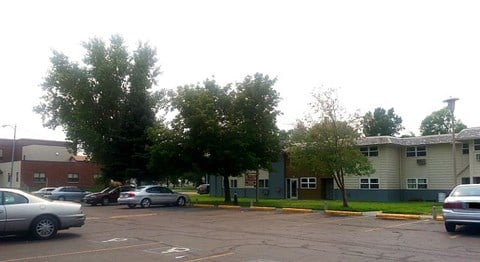 View of apartments from parking lot