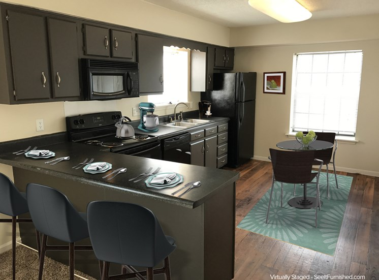 Kitchen Peninsula Breakfast Bar Available in Some Apartments
