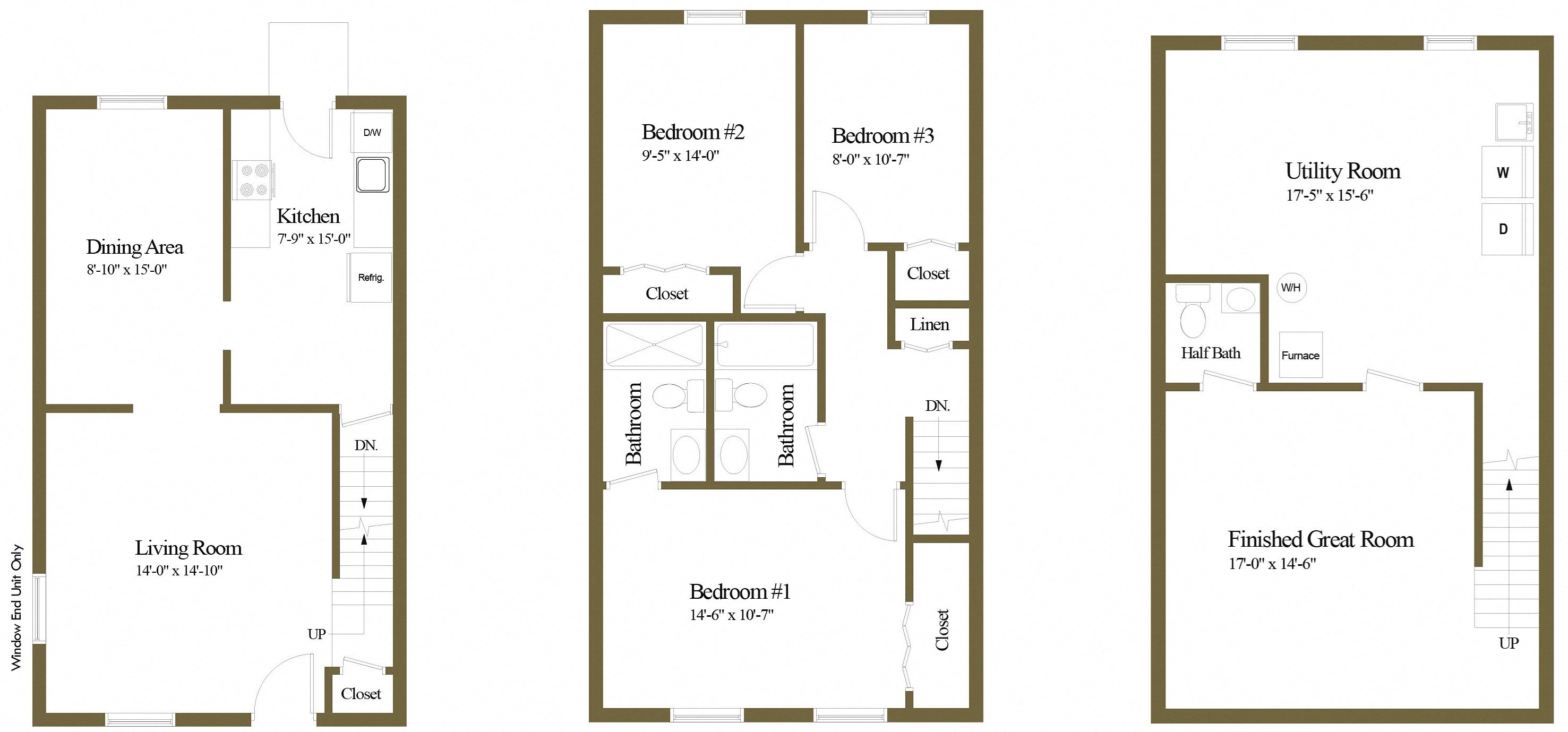 3 Bedroom 2.5 Bathroom Floor Plan 2