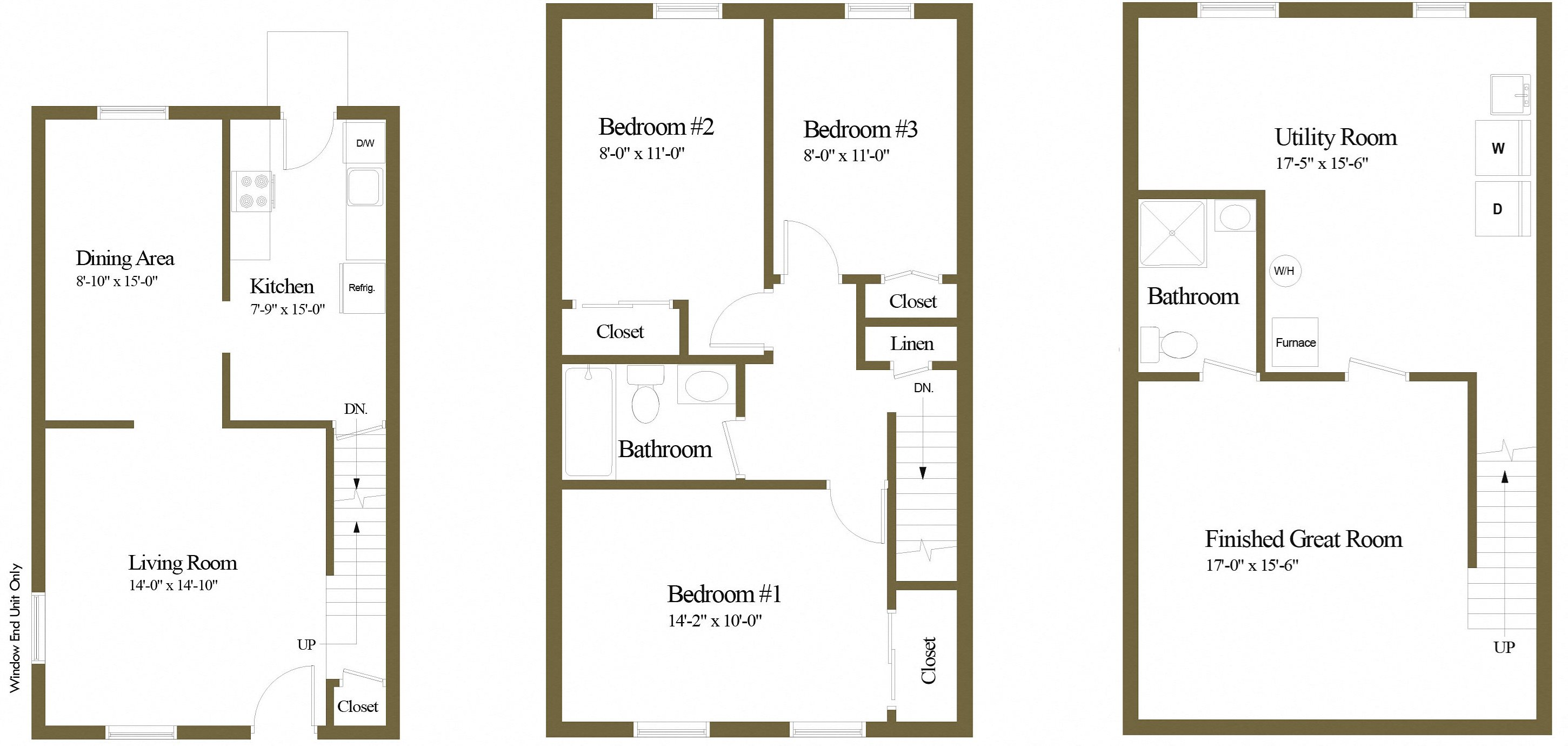 3 Bedroom 2 Bathroom Floor Plan 1