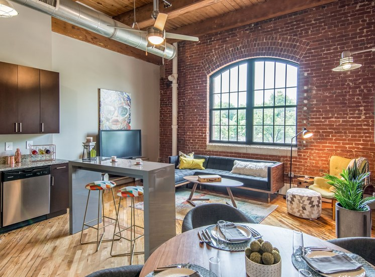 Model Living Area at The Hudson Lofts at Richmond, Virginia, VA
