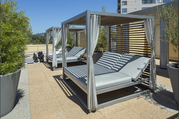 Westwood-luxury-apartments-NMS-Wilshire-Margot- Rooftop-Lounge-With-Cabana at Wilshire Margot, Los Angeles