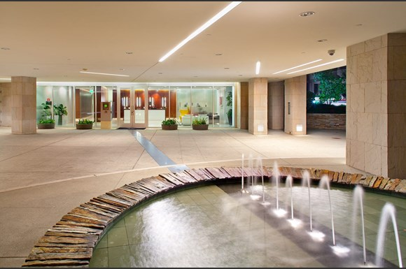 Westwood luxury apartments NMS Wilshire Margot  Exterior Front With Fountains at Wilshire Margot, California, 90024