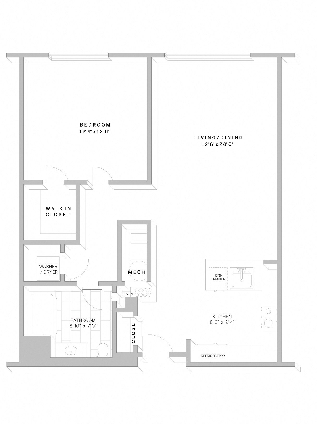 1 Bed 1 Bath A1 Floor Plan 1