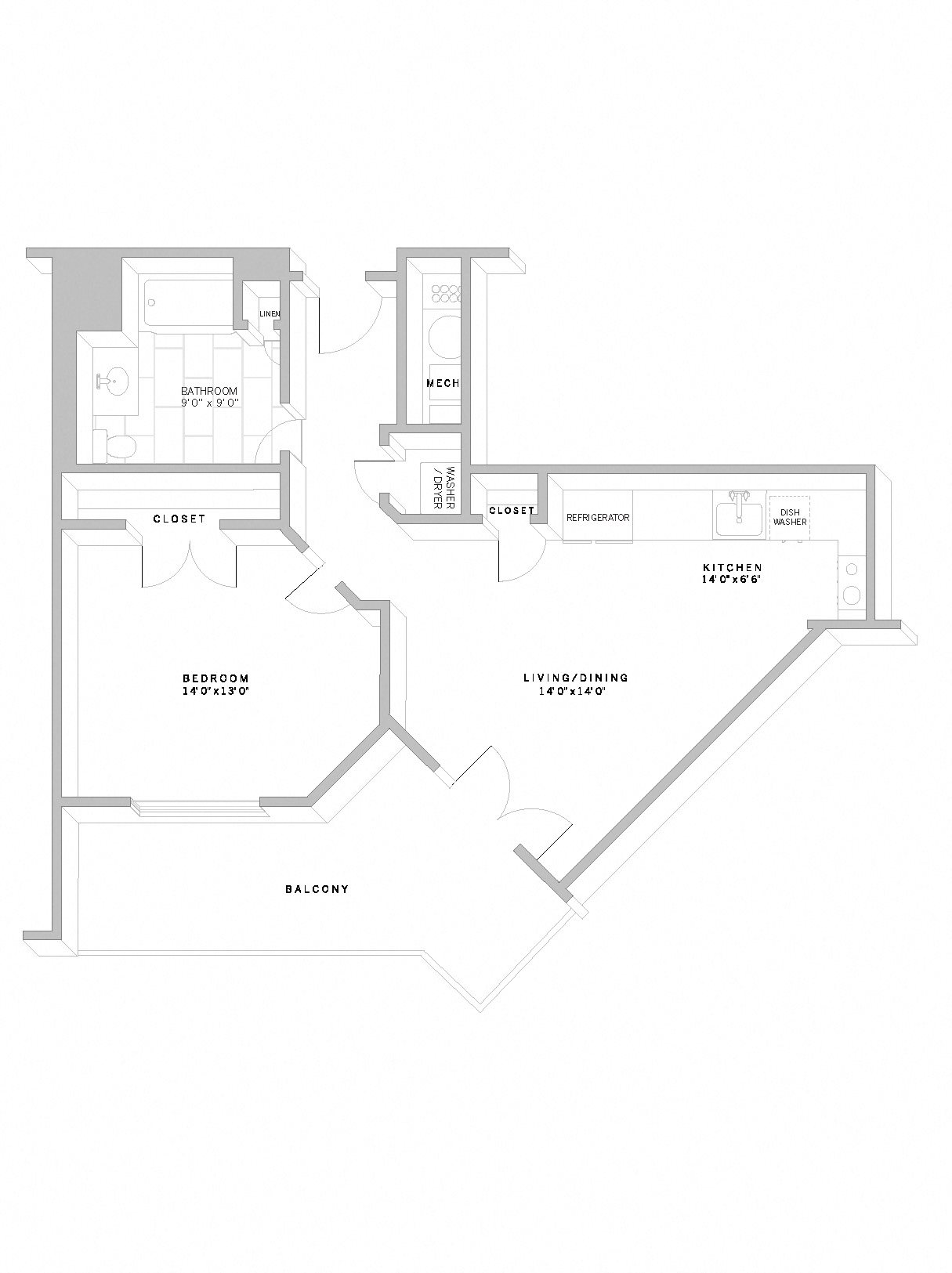 1 Bed 1 Bath A10 Floor Plan 2