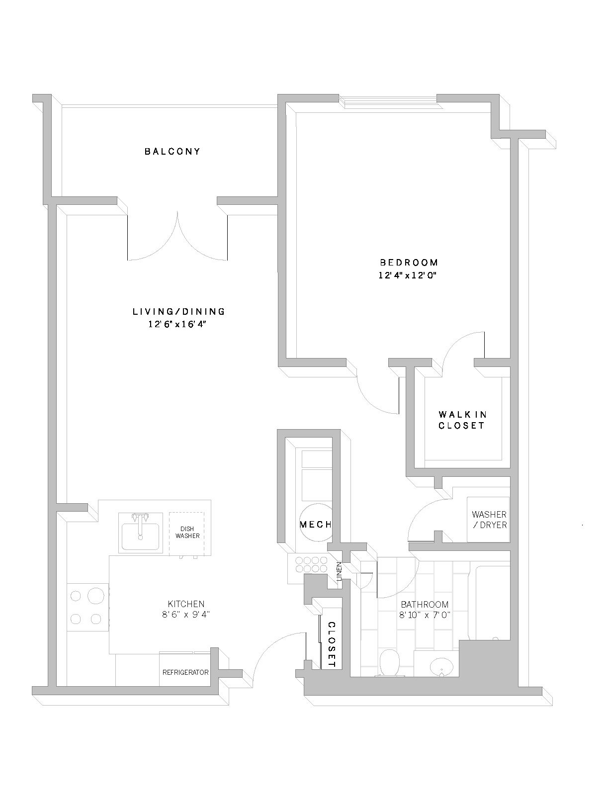 1 Bed 1 Bath A2 Floor Plan 3
