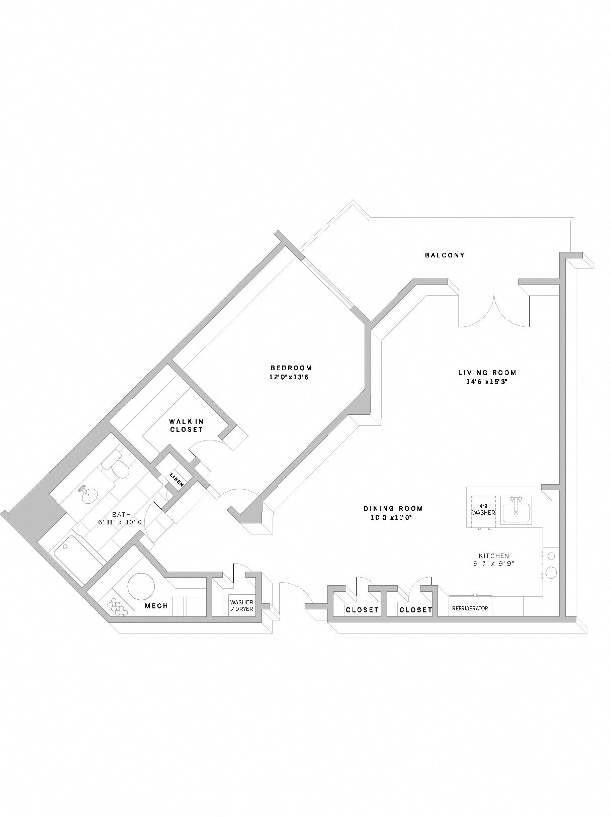 1 Bed 1 Bath A3 Floor Plan 8