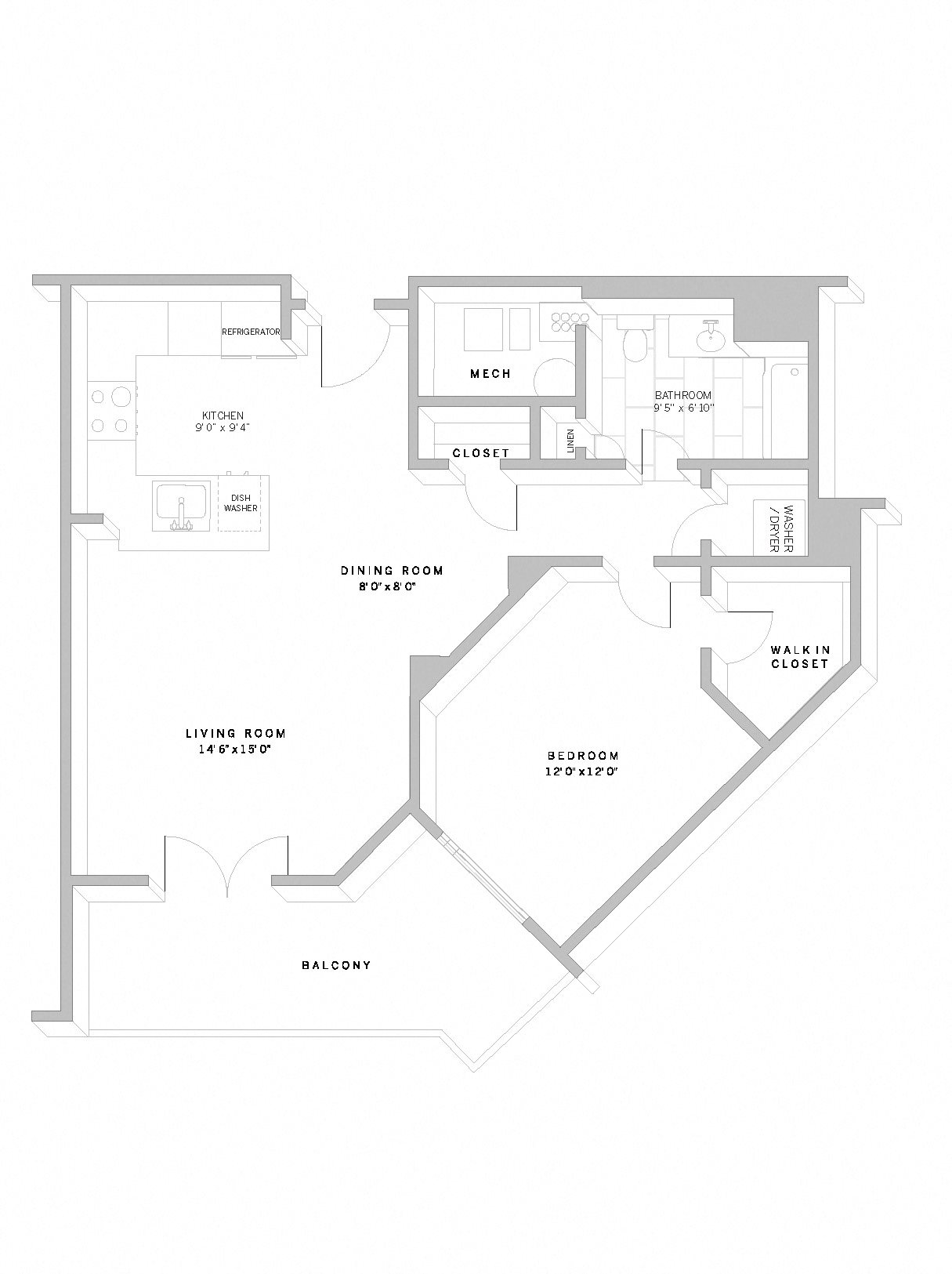 1 Bed 1 Bath A7 Floor Plan 9