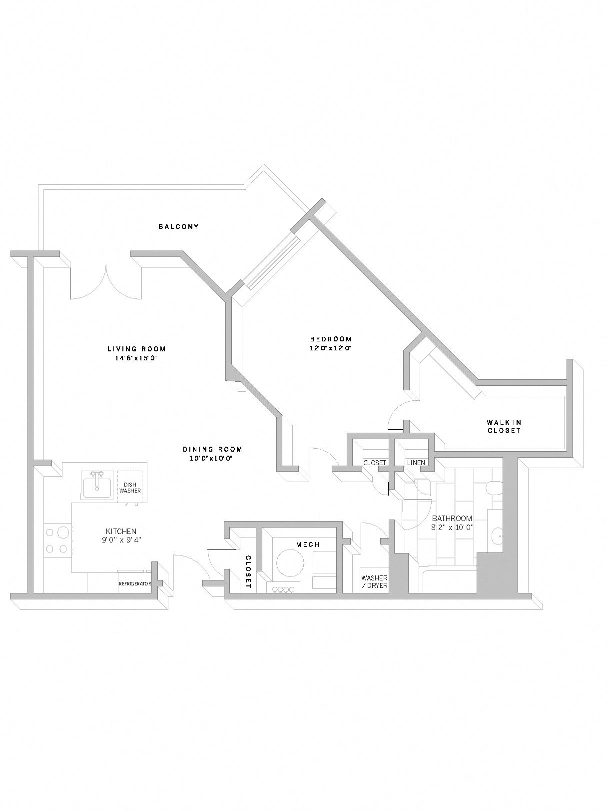 1 Bed 1 Bath A8 Floor Plan 12