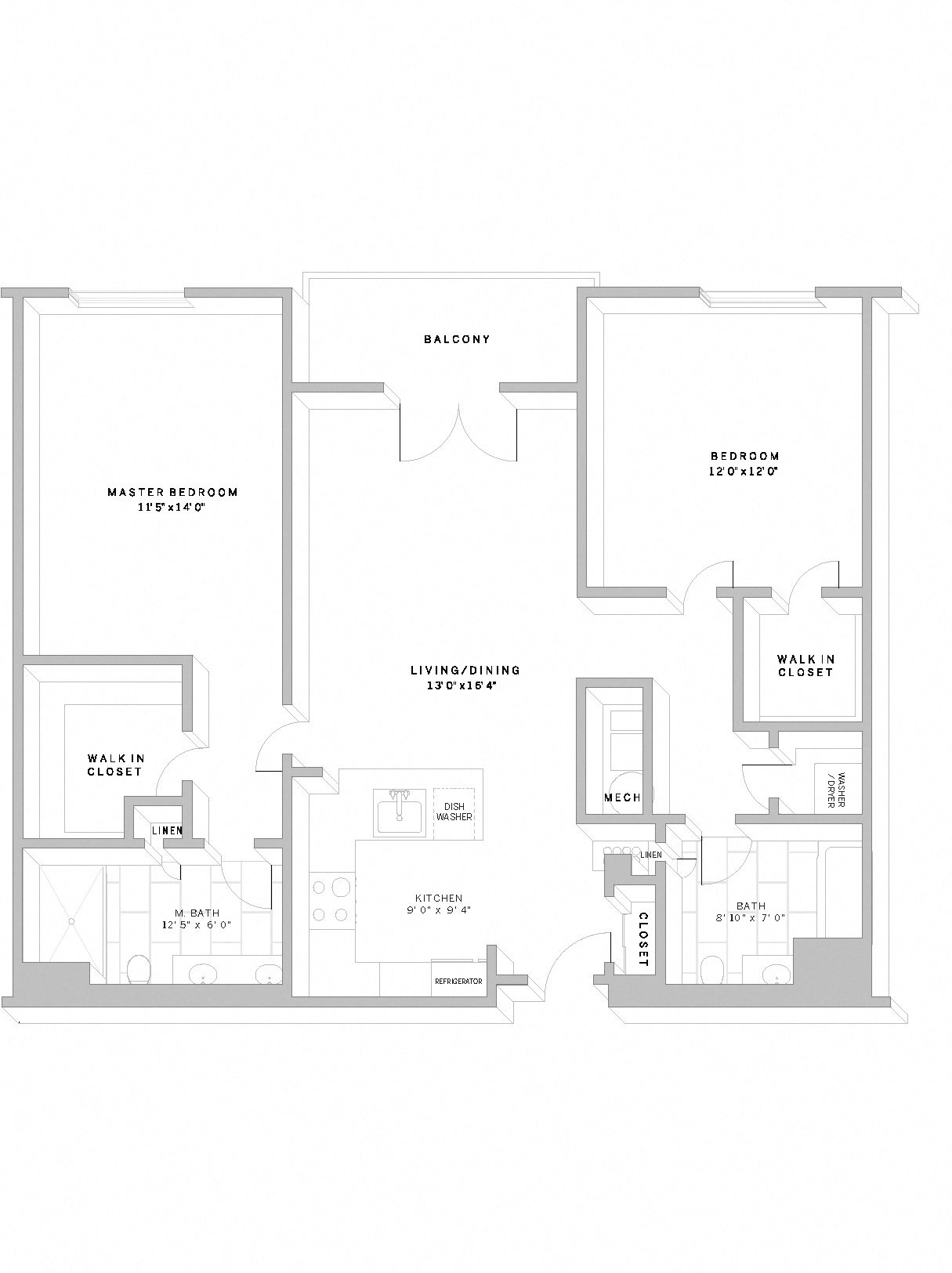 2 Bed 2 Bath B1 Floor Plan 14