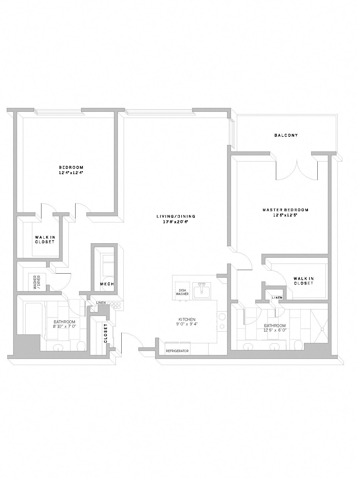 2 Bed 2 Bath B2 Floor Plan 16