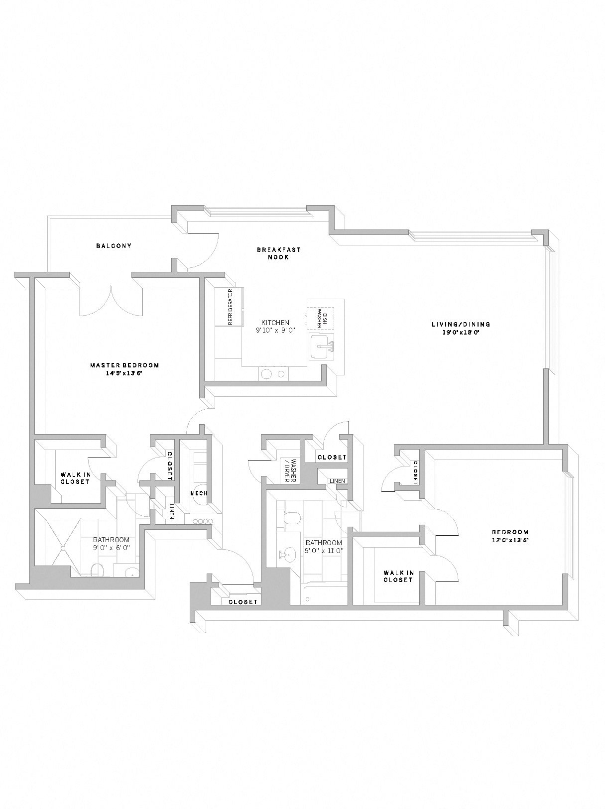 2 Bed 2 Bath B3 Floor Plan 18