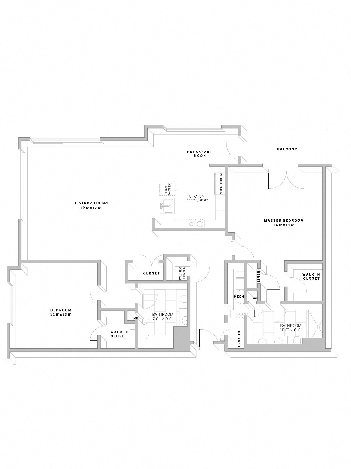 2 Bed 2 Bath B4 Floor Plan 22