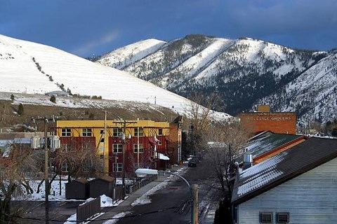 View of apartments and mountains