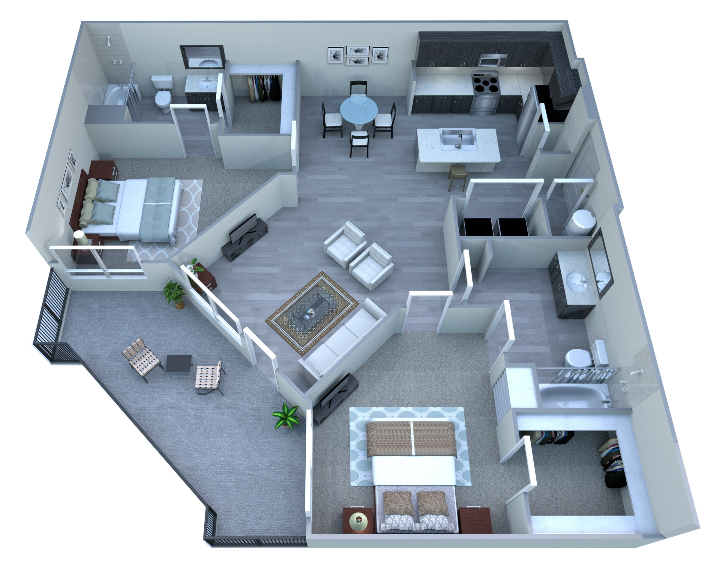 Two Bedroom Floor Plan at Tempo at McClintock Station, Tempe, AZ