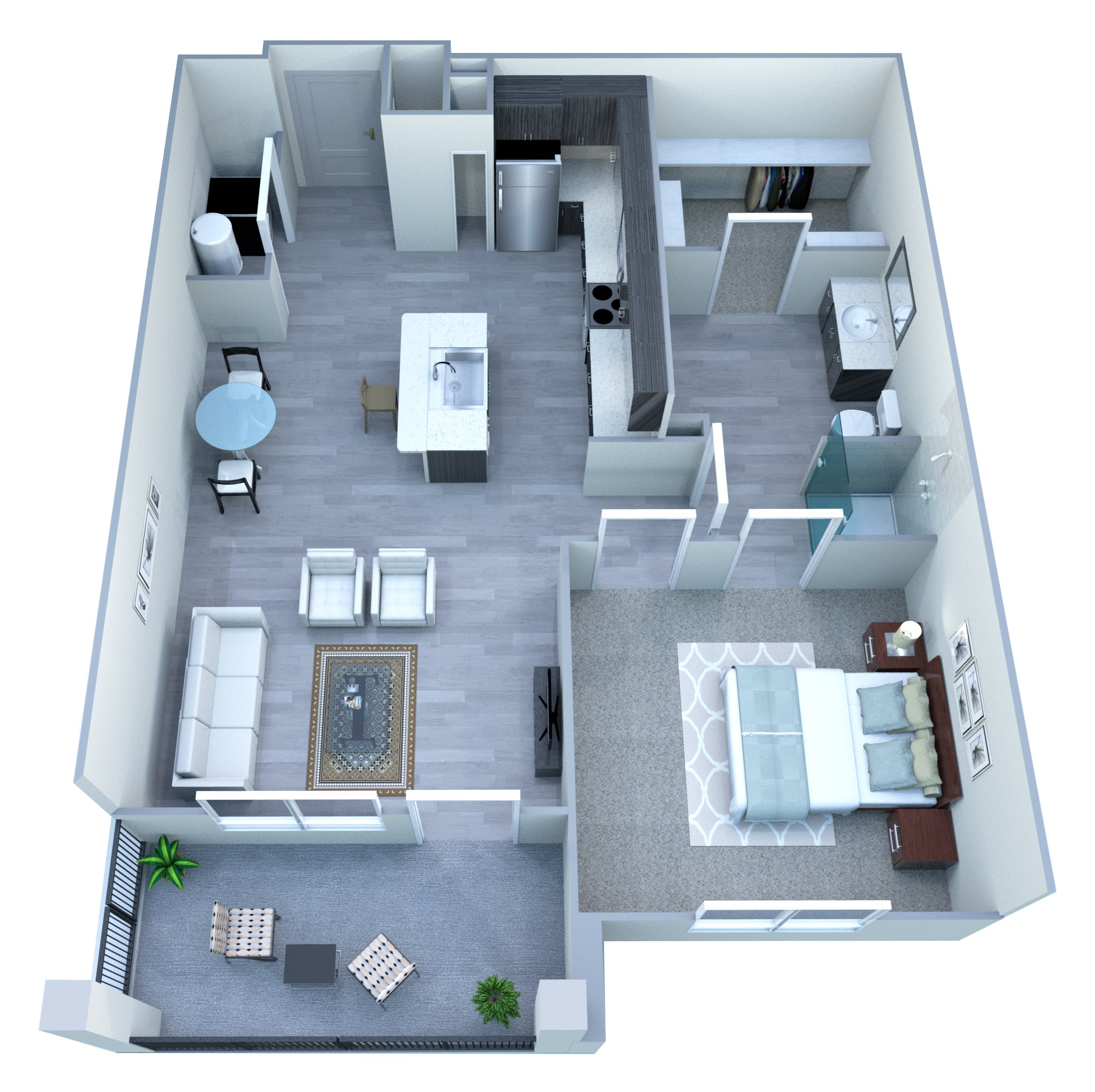 One Bedroom Floor Plan at Tempo at McClintock Station, Tempe, AZ