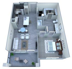 One Bedroom Floor Plan at Tempo at McClintock Station, Tempe, AZ