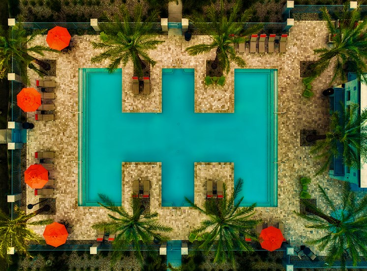 Aerial View of the Pool at Tempo at Tempo at McClintock Station, Arizona