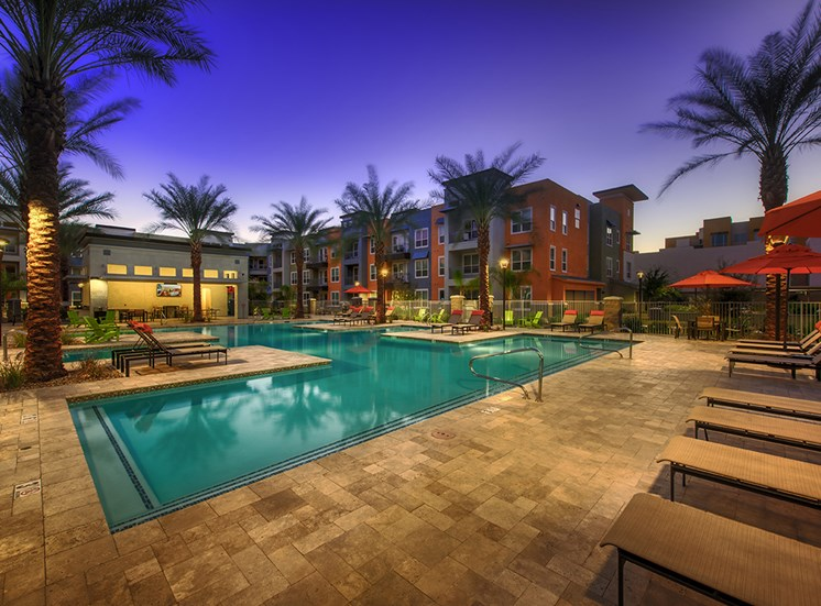 Swimming Pool and Lounge Chairs at Tempo at McClintock Station, Tempe, AZ