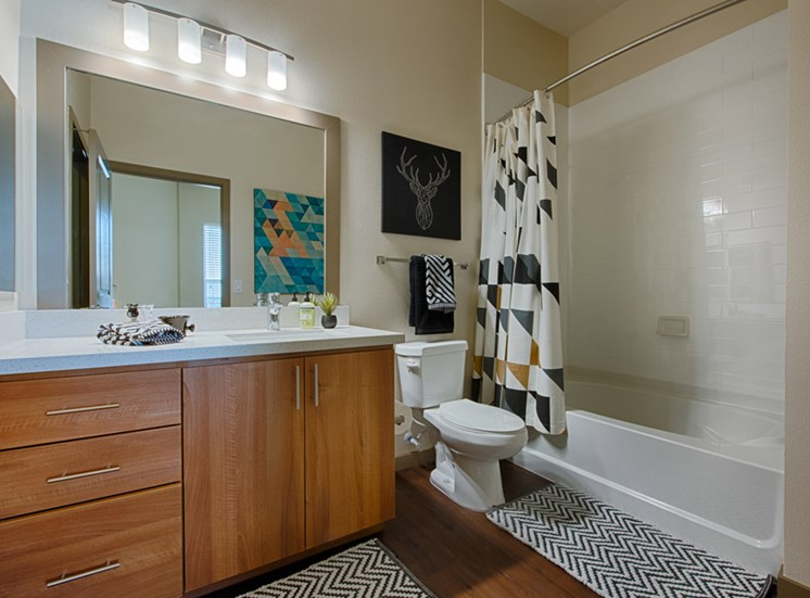 Framed Vanity Mirrors available in all Bathrooms at Tempo at McClintock Station, 1831 East Apache Blvd, Tempe
