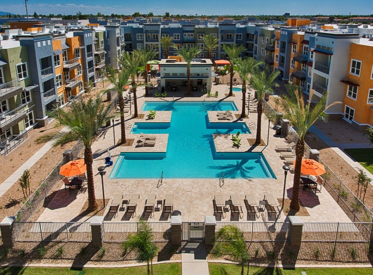 Pools with Surrounding Cabana Areas at Tempo at McClintock Station, 1831 East Apache Blvd, AZ 85281