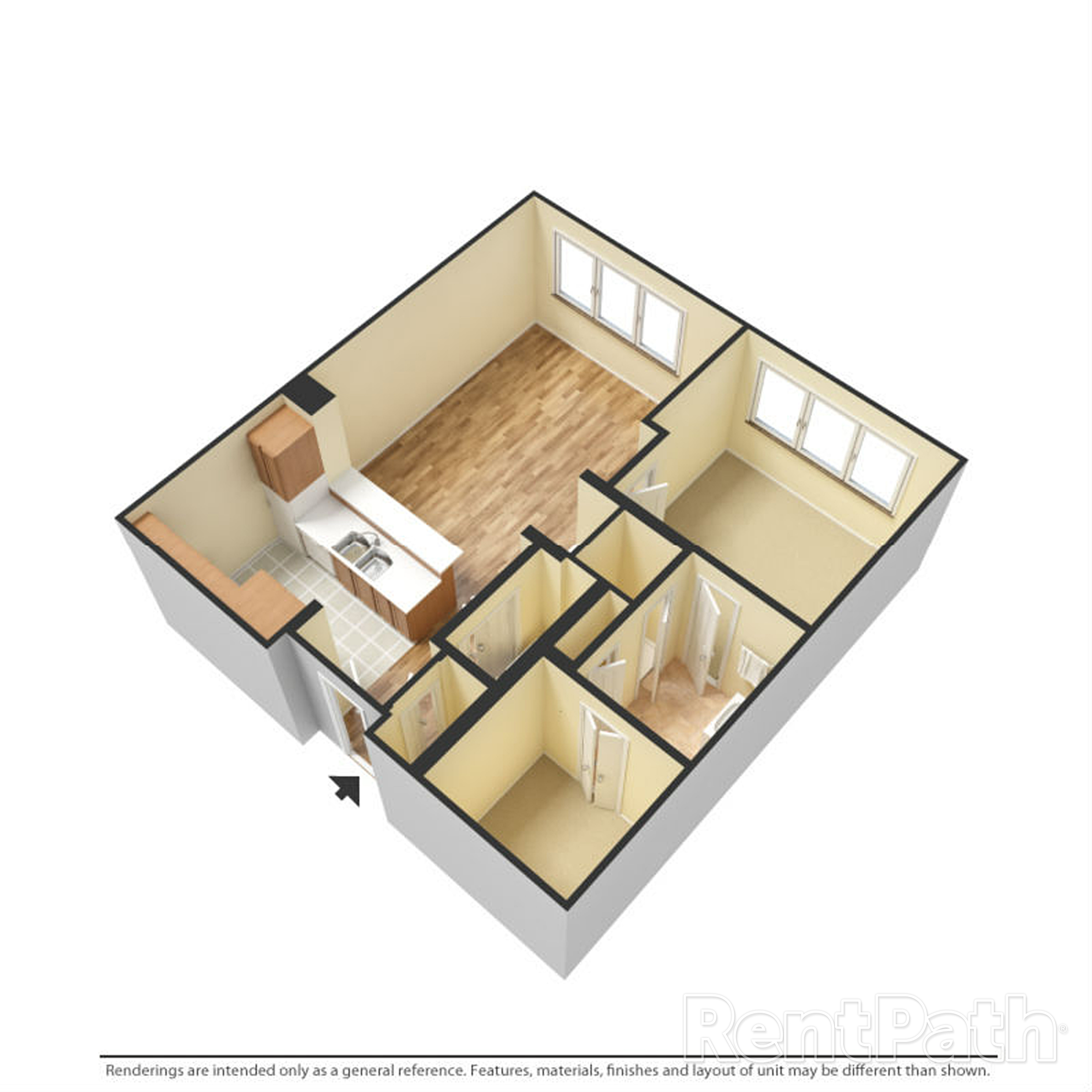 Floor Plan a Studio Apartment by the Porter Brewers Hill_baltimore_md