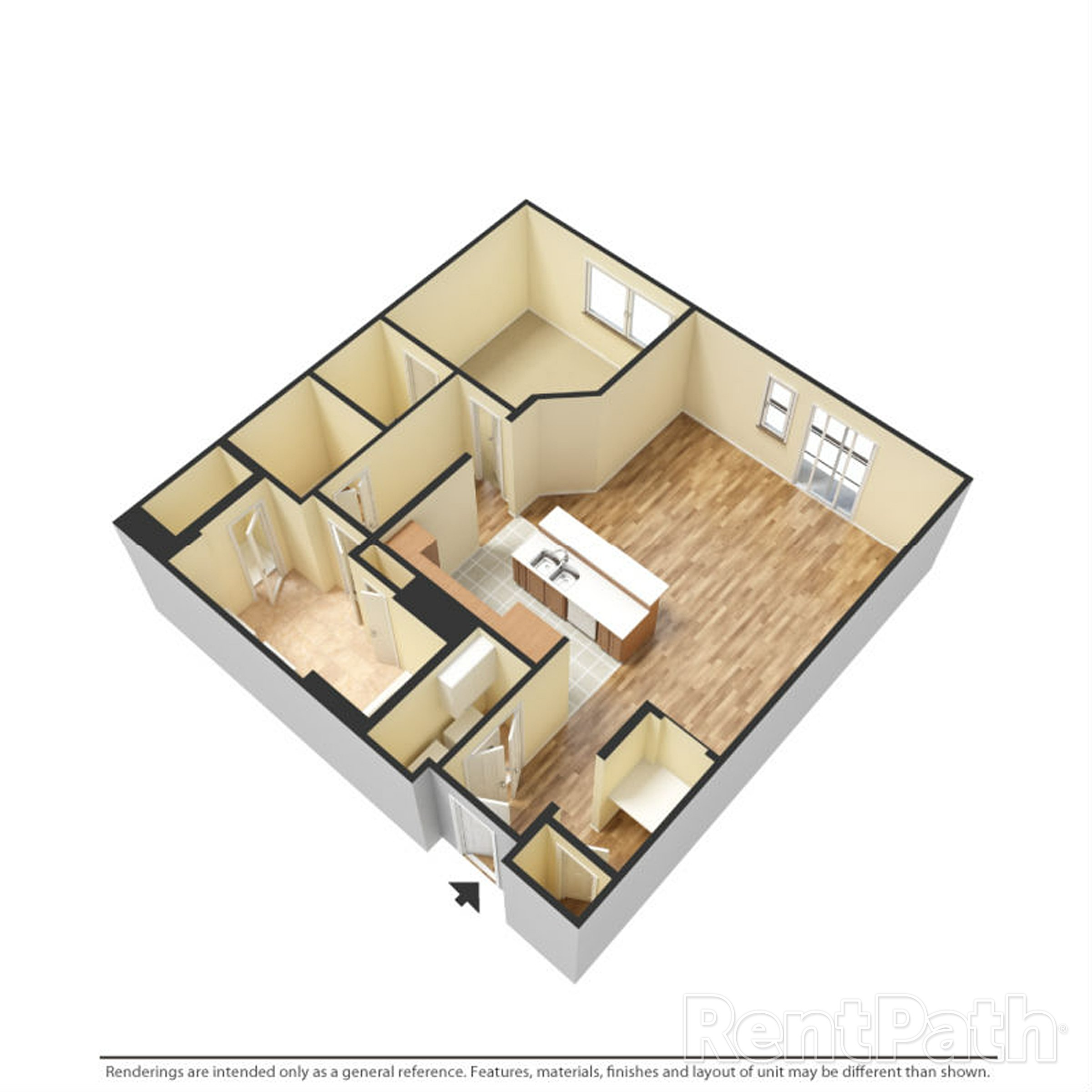 Floor Plan D One Bedroom One Bathroom