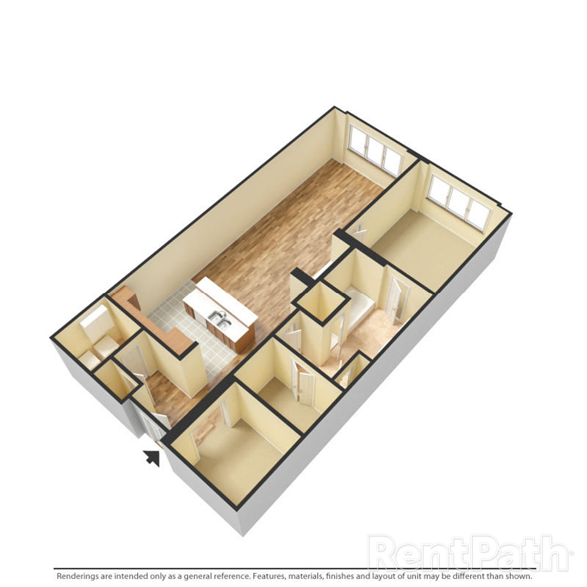 Floor Plan H One Bedroom One Bathroom