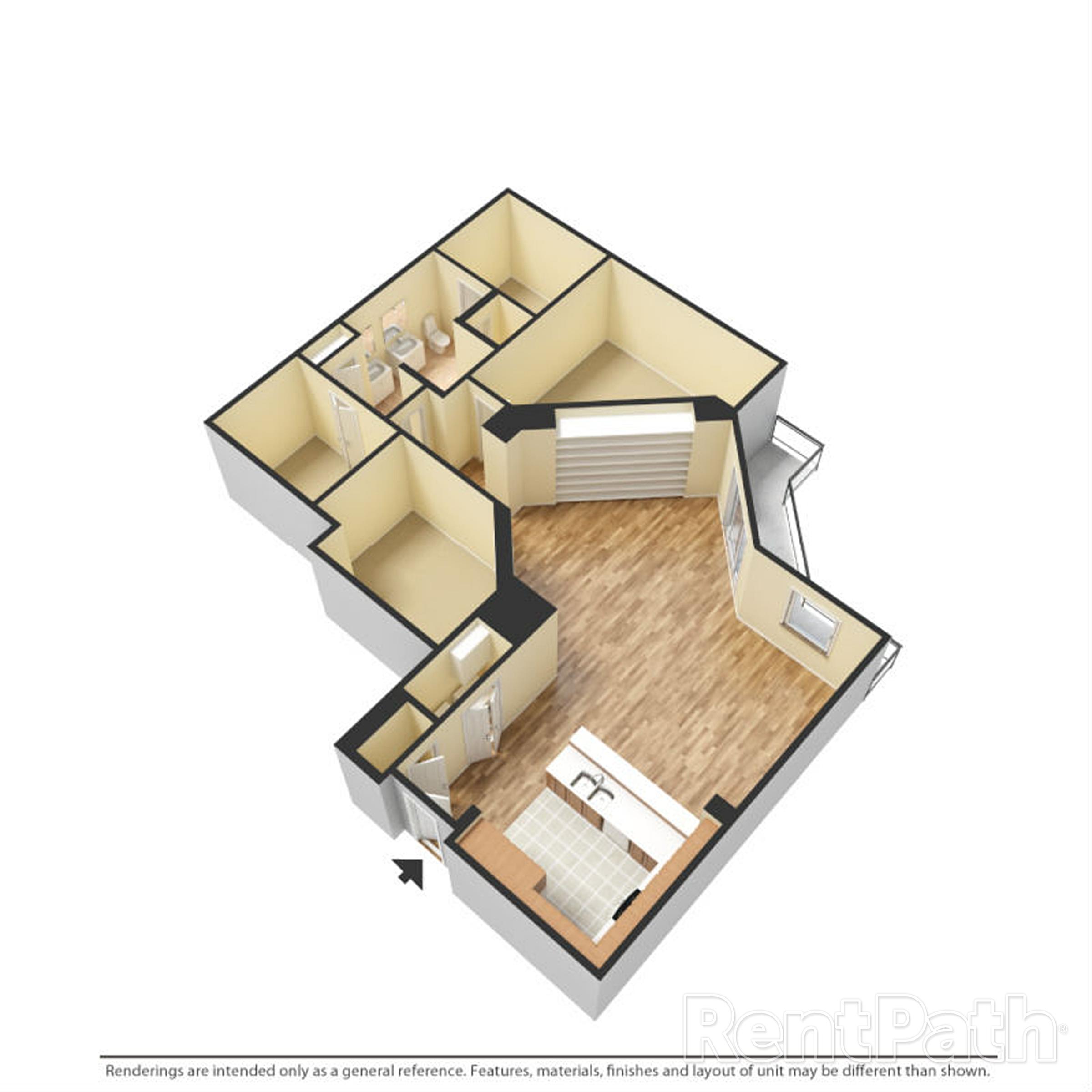Floor Plan J One Bedroom One Bathroom