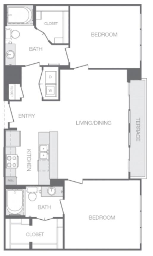 Floor Plan O Two Bedroom Two Bathroom