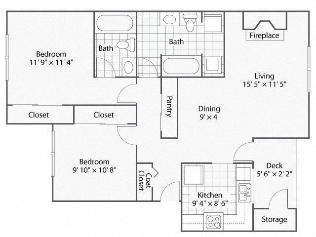 2 Bedroom_2 BathroomCanterberry | Windsor Apartments For Rent in Renton, WA 98059
