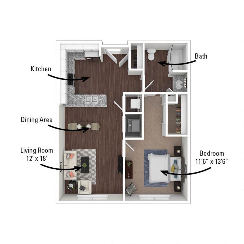 1 Bedroom, 1 Bath 712 sq. ft.