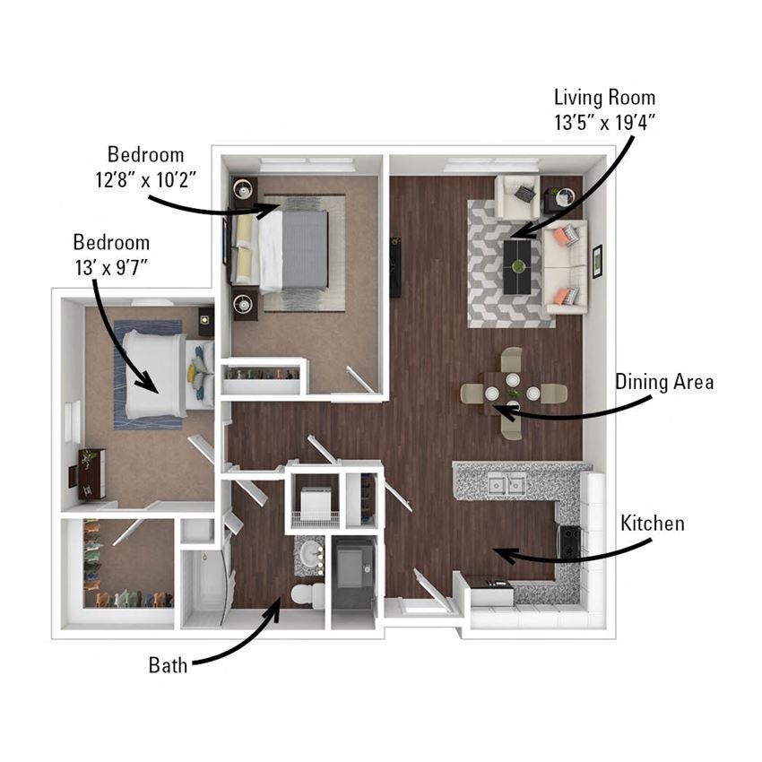 2 Bedroom, 1 Bath 920 sq. ft.