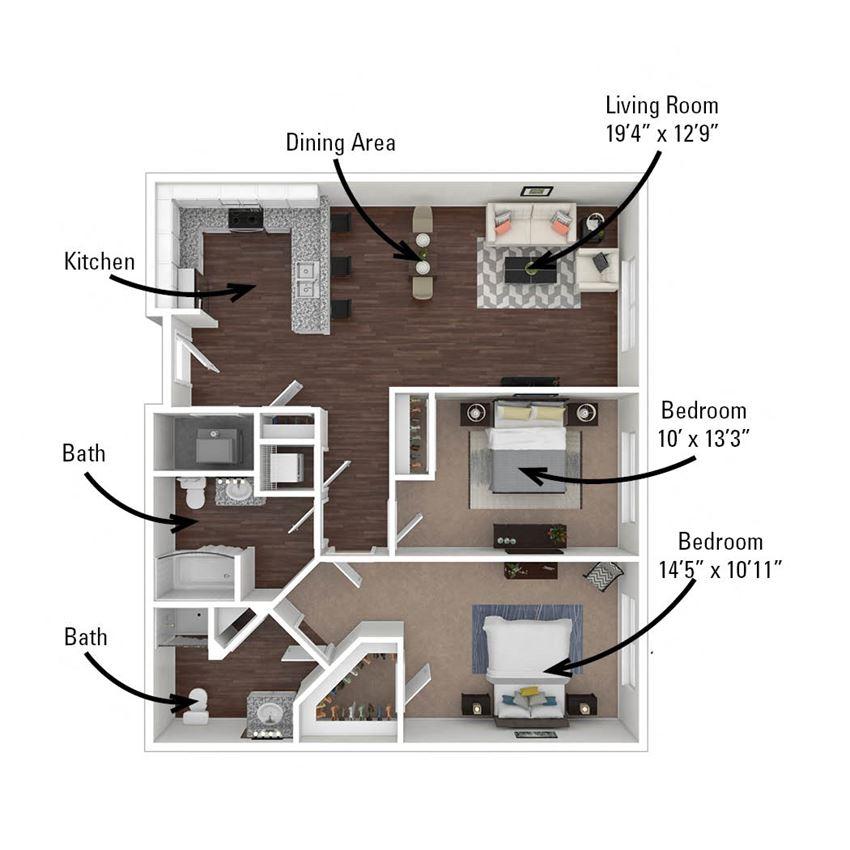 2 Bedroom, 2 Bath 1,028 sq. ft.