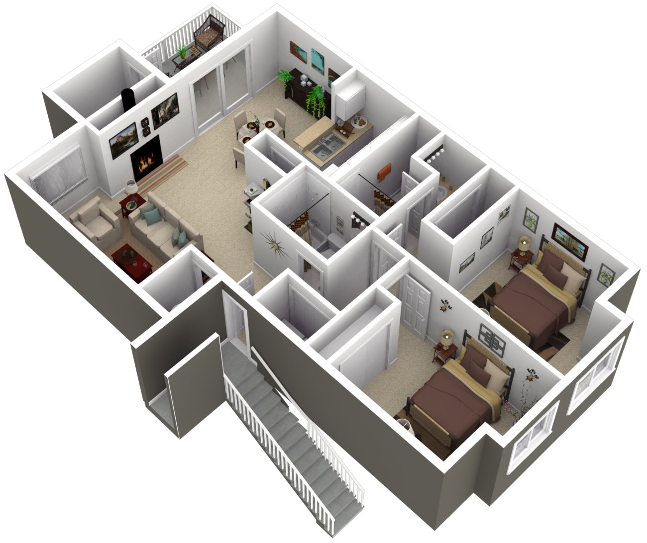 Ridgegate Apartments_Kent WA_Floor Plan_The Oak_Two Bedroom Two Bathroom
