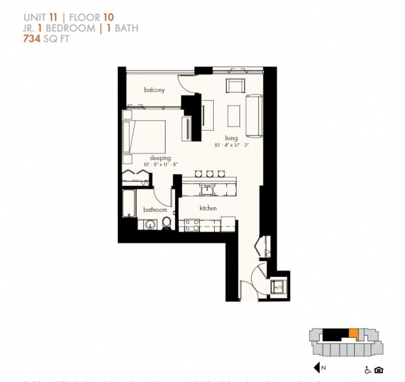 Junior One Bedroom (734 sf) Floor Plan 3