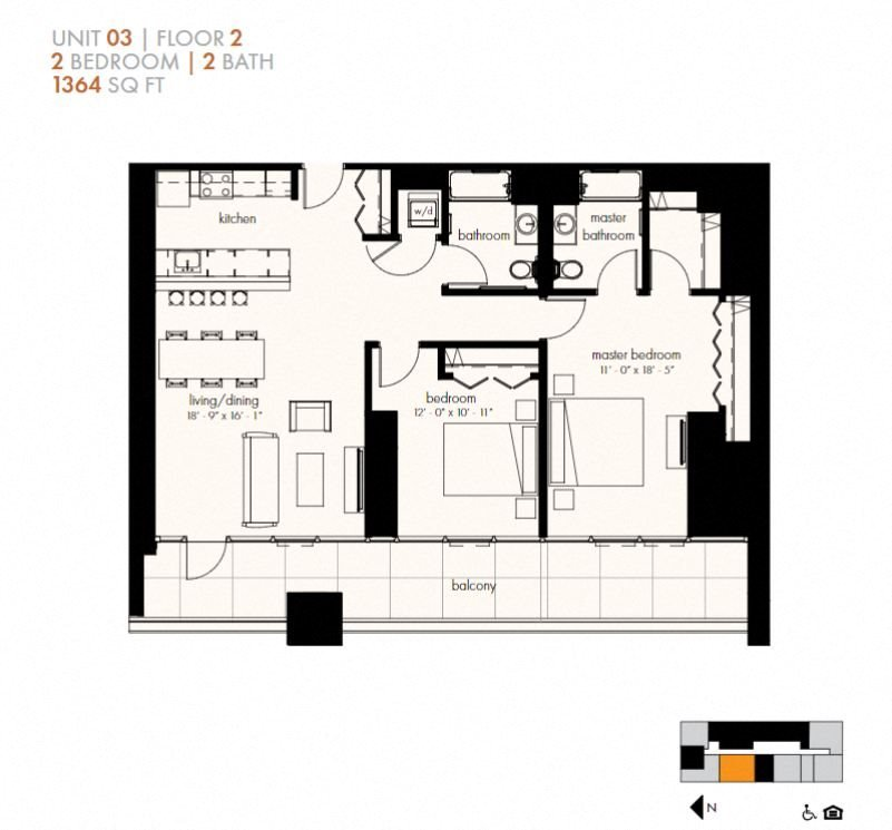 Two Bedroom (1364 sf) Floor Plan 25