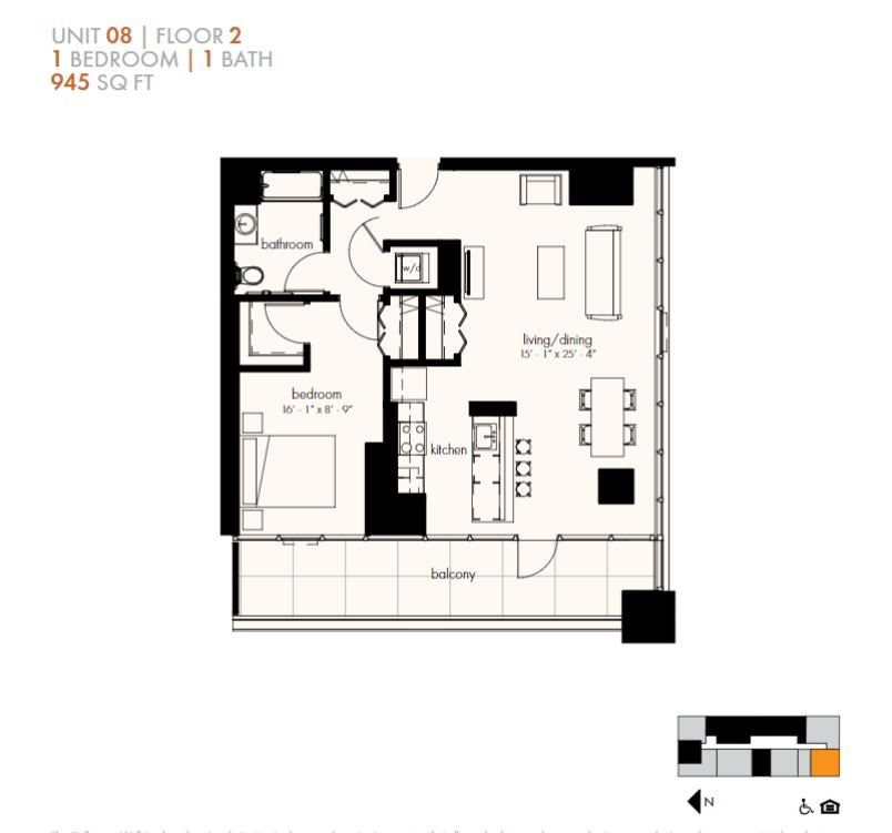One Bedroom (945 sf) Floor Plan 14