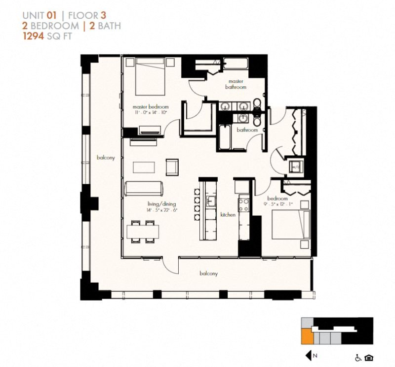 Two Bedroom (1294 sf) Floor Plan 22