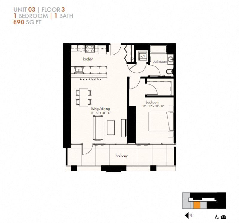 One Bedroom (890 sf) Floor Plan 13