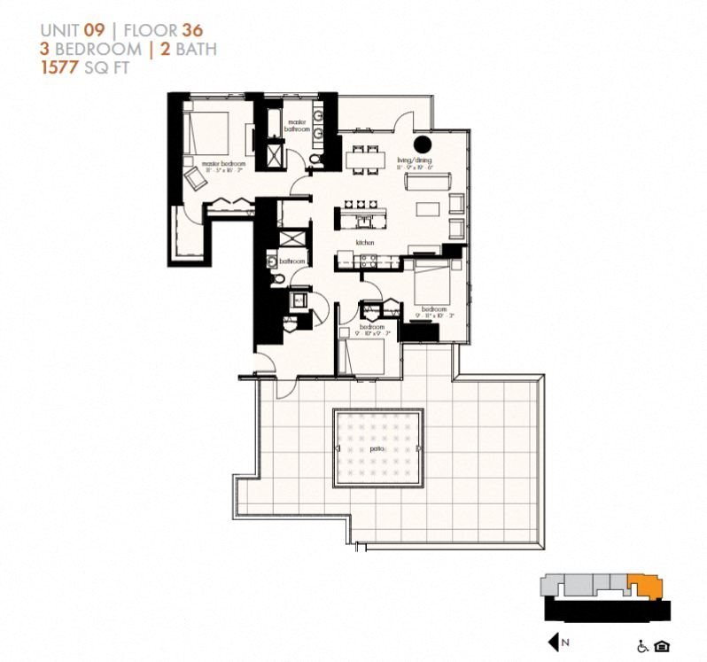 Three Bedroom (1577 sf) Floor Plan 29