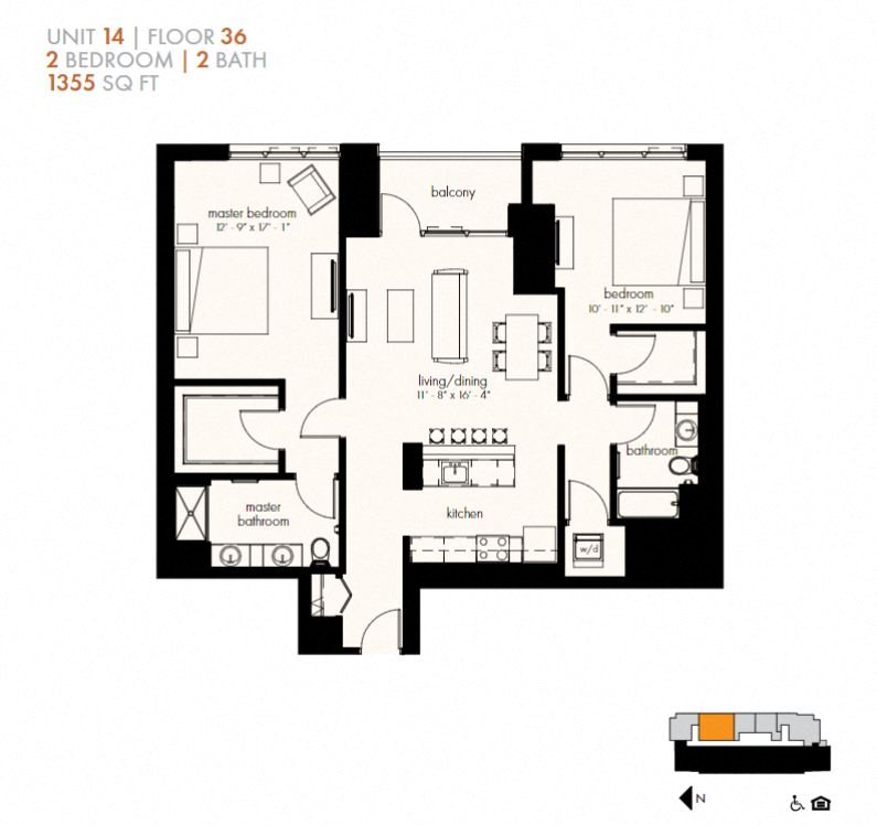 Two Bedroom (1355 sf) Floor Plan 24