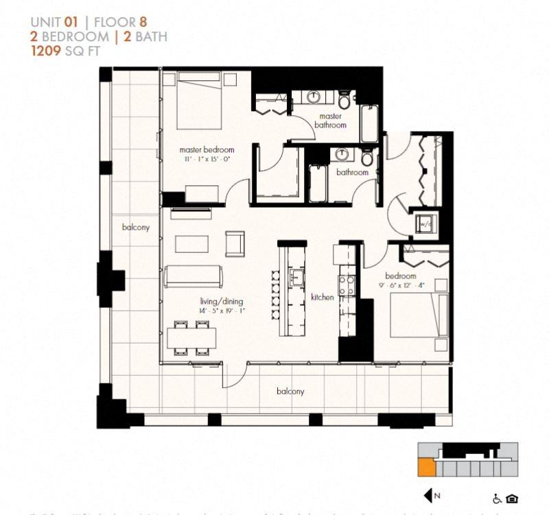 Two Bedroom (1209 sf) Floor Plan 19