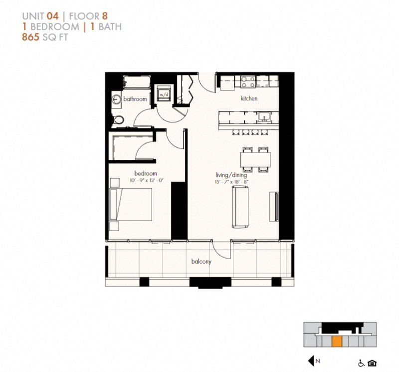 One Bedroom (865 sf) Floor Plan 11
