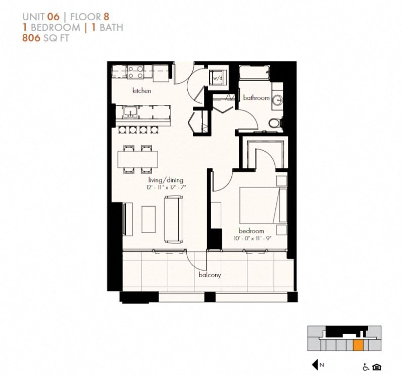 One Bedroom (806 sf) Floor Plan 9