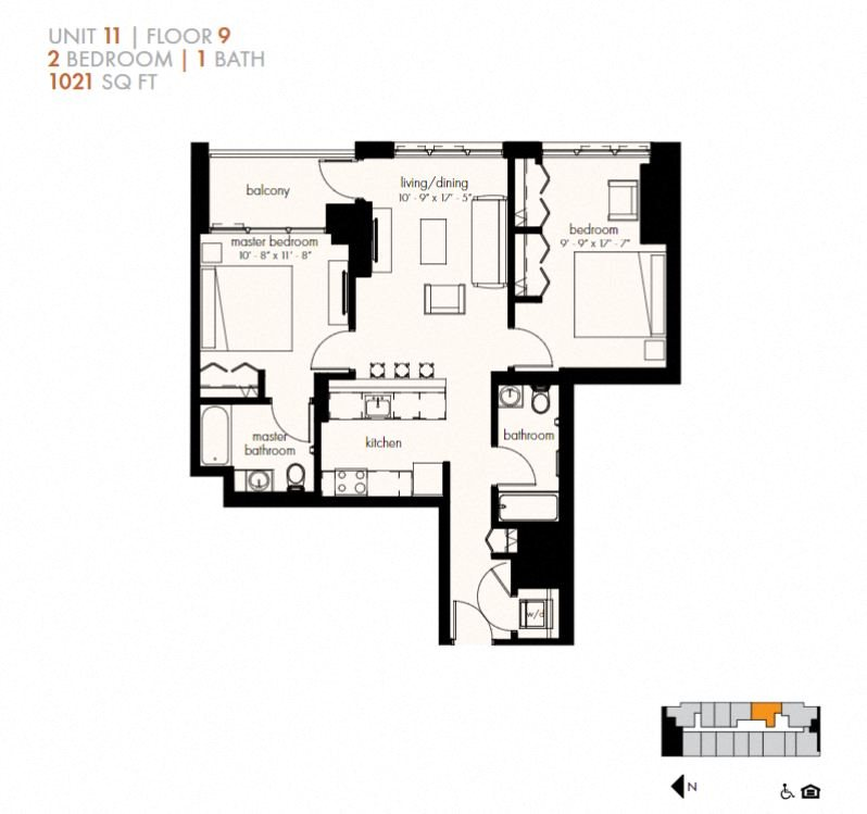 Two Bedroom (1021 sf) Floor Plan 18